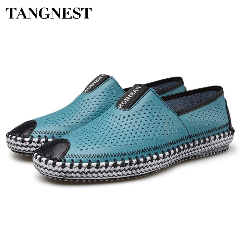 Tangnest 2017 New Spring&Summer Men's Casual Shoe British Breathable Peas Shoe Men's Genuine Leather Slip On Lazy Loafer XMR1395 tangnest summer couple casual shoes lazy mesh network shoe men foot wrapping big size 34 46 slip on breathable shoe