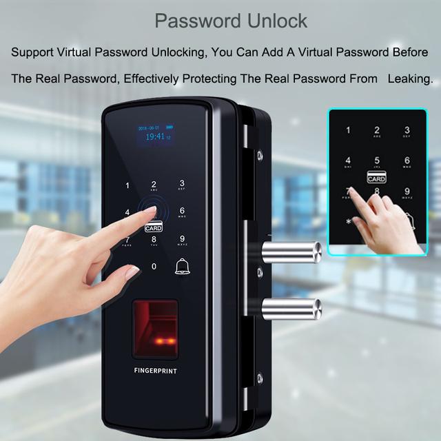 Eseye Glass Fingerprint Lock Digital Electronic Door Lock For Home Office Anti-theft Intelligent Password RFID Card Smart Lock
