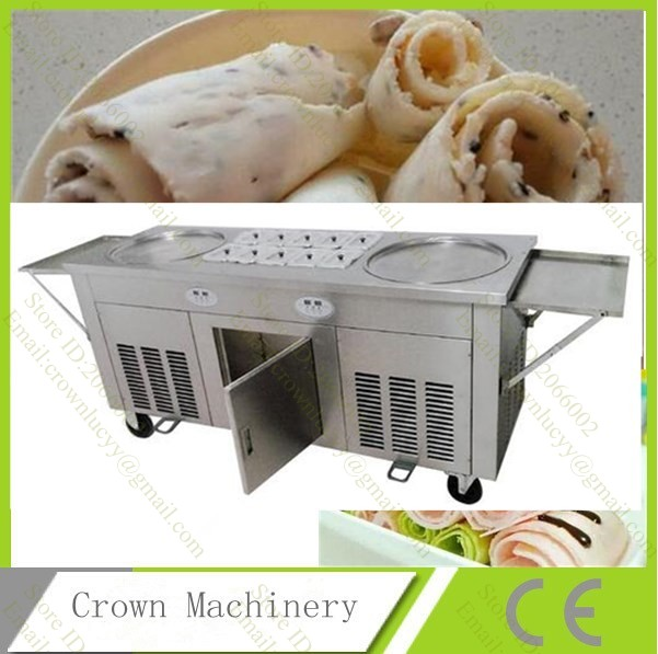 Free Shipping Double Pans Fried Ice Cream Machine;2 Round Pans Ice Cream Roll Making Machine with Salad Fruit Workbench