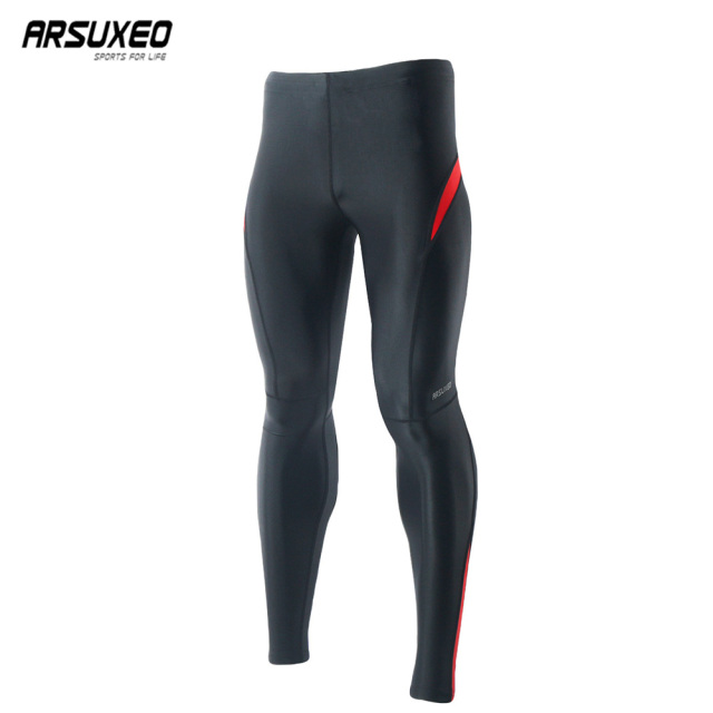 ARSUXEO Men Compression Running Tights Spring Jogger Training Fitness GYM Sports Leggings Elastic Pants Trouser Reflective 9015