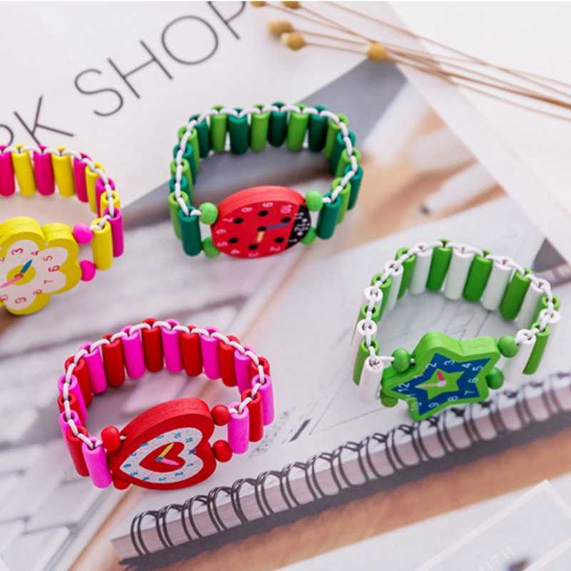 Vvsoo Kids Bracelet Fake Wooden Watch Baby Shower Girl Boy Birthday Party Favor Souvenir Pinata Fillers Christmas Gifts
