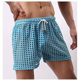 31b325f789aa € 11.34 10% de DESCUENTO|Pantalones cortos de malla para hombre Pantalones  cortos para hombre Gay ropa de dormir Casual ver a través de los ...