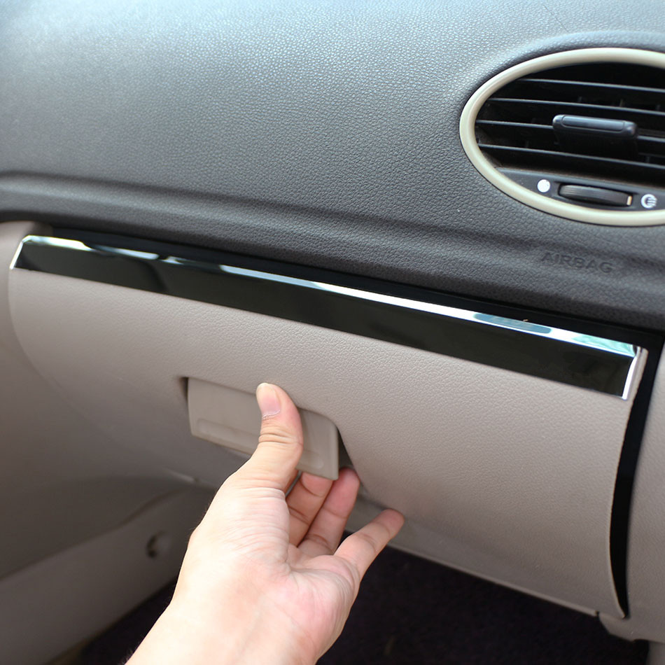 Jameo Auto Stainless Steel Car font b Interior b font Glove Box Decoration Trim Storage Box