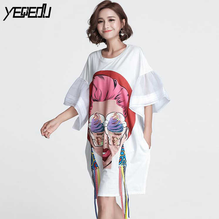 8c24f09f8c0  1607 Summer T Shirt Dress Women White Ribbons White O-neck Oversized  Sequins T