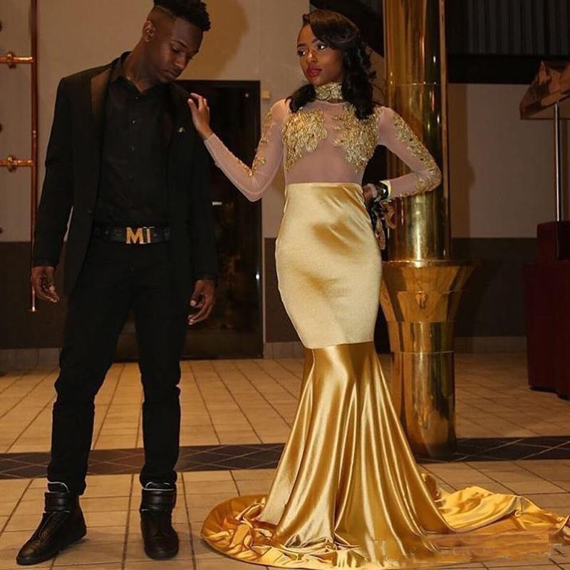 2018 See Through Long Sleeves Gold   Prom     Dresses   Lace Appliques Ruched Jewel Neck Mermaid Formal Evening Party Gowns Sweep Train