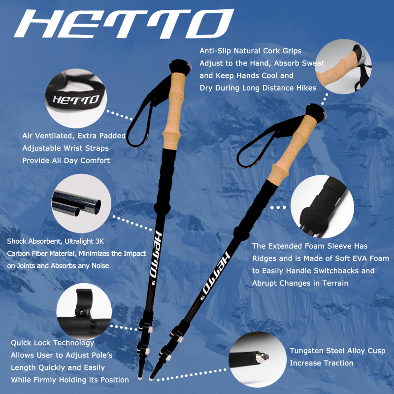 Hetto 2pcs Carbon Fiber Hiking Poles with Cork Handle 4 Different Accessories Trekking Poles Lightweight Walking Poles