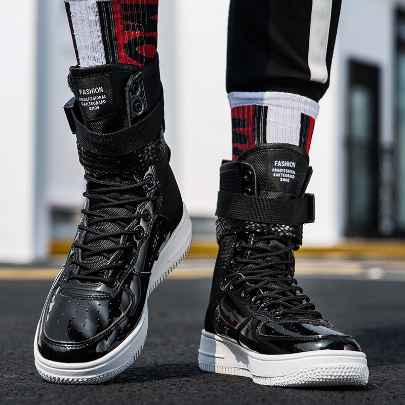 Men's Boots New Fashion Men Shoes Boots Sneakers High Top Casual Flats Shoes Male Hip-hop Mid Calf Boots Shoes Boys Buckle Shoes Pp-38