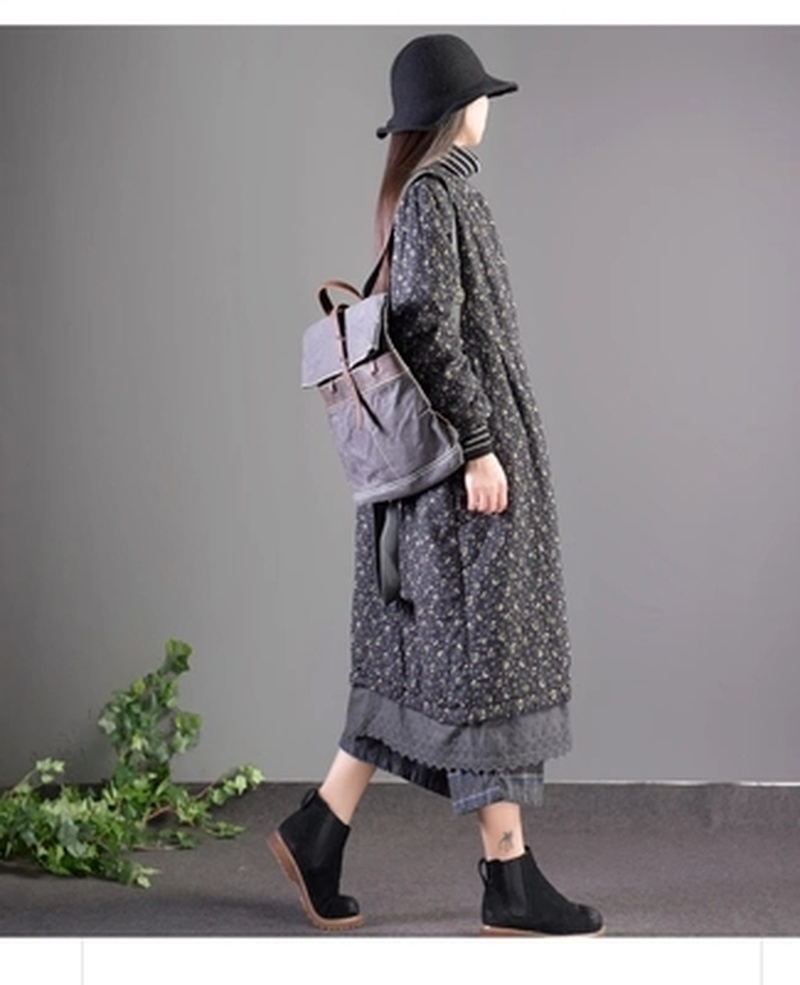 Pcs Rétro Sur Plus Femmes Longues Maxi Tendance Coton Floral Vintage D'hiver Genou Manteau Outwear As Lin Épaississent Parkas Chaud RWwIPUqnw