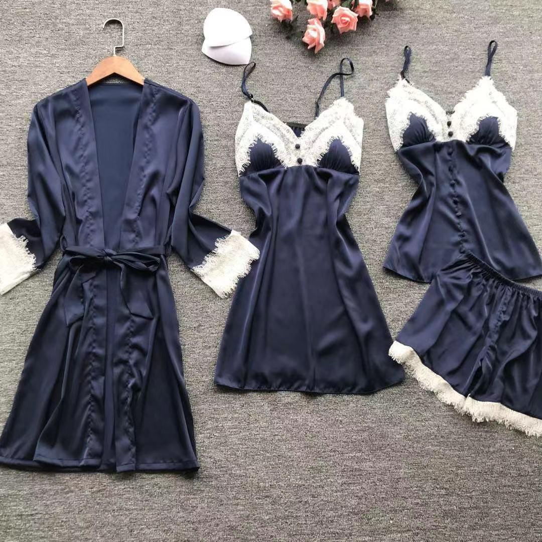 Été Sexy Femmes 4 pièces Dormir Ensemble Dentelle Pyjama Pyjama Costume décontracté Kimono Robe De Bain En Satin Soyeux Vêtements De Nuit Vêtements À La Maison