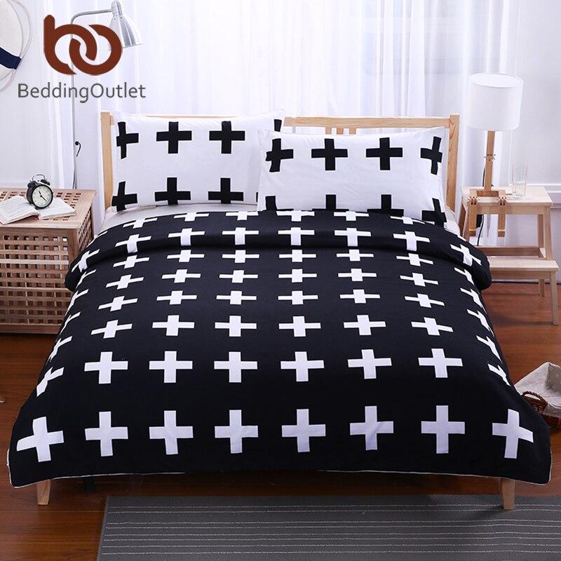 Постельные принадлежности Outlet черный крест дома Постельное белье белые постельное белье супер мягкий чехол для кровати Спальня Твин Полны... ...