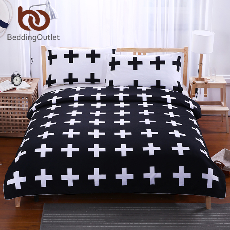 BeddingOutlet Black Cross Home Bedding Set White Bedclothes Super Soft Cover For Bed Bedroom Twin Full Queen King drap de lit ...