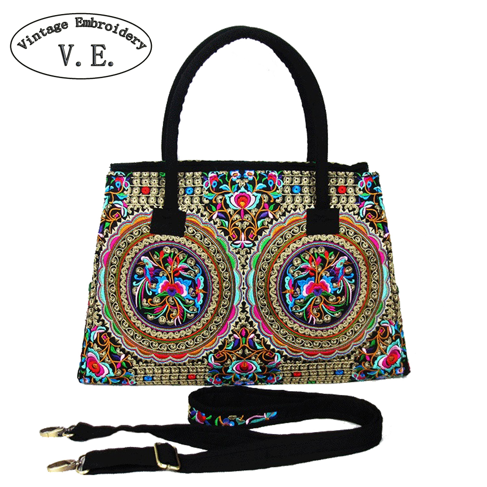 Vintage Embroidery Women's Ethnic Shoulder Bag Canvas Handbag Boho Mandala Messenger Bags For Travel Bolsa Feminina free shipping vintage hmong tribal ethnic thai indian boho shoulder bag message bag pu leather handmade embroidery tapestry 1018