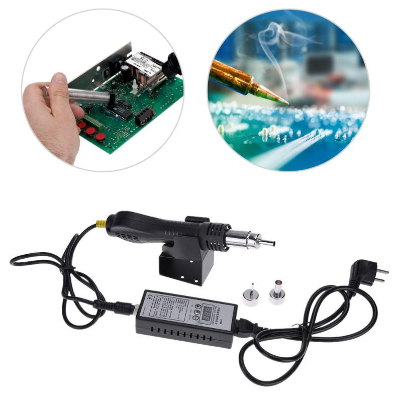 AC 110V 240V Hot Air Gun Solder Blower Rework Station Heat Gun with 3 Replaceable Nozzles Bracket External Rechargeable Battery