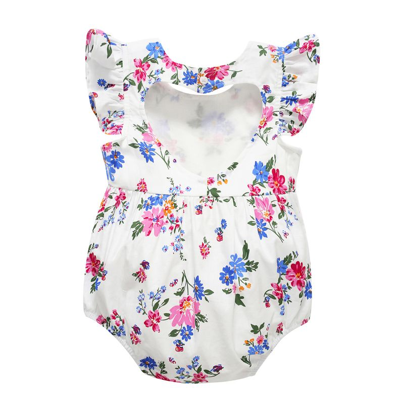 Newborn Floral Print Baby Rompers Hollow Out Flower/Pear/Cherry Printed Infant Jumpsuit Kids Girls Boys Outfits 0-24M