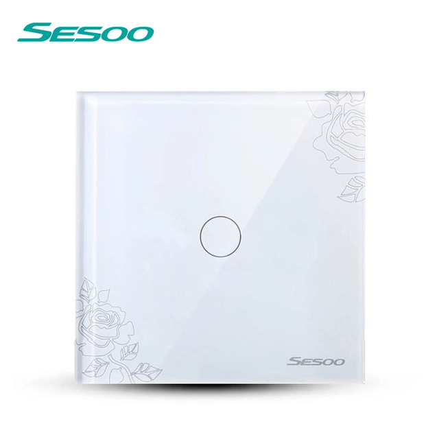 EU/UK Standard SESOO Touch Switch 1 Gang 1 Way,Wall Light Touch Screen Switch,Crystal Glass Switch Panel, Lamp Touch Switch eu uk standard sesoo touch switch 1 gang 1 way wall light touch screen switch crystal glass switch panel remote control switch