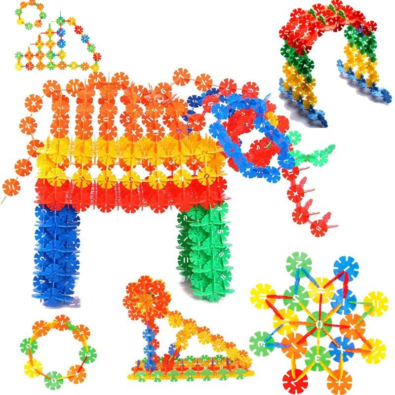500Pcs/Pack Building Blocks Children's Plastic ABS Snowflake Shape Kids Educational Toy Assemblage Colorful Model Building Kit