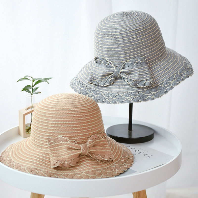 Dashing 2019 New Women Straw Sun Hat Summer Soft Chiffon Ribbon Bow-knot Straw Hat Casual Women Metal Chain Wide Brim Beach Hats Online Discount