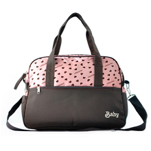 insular New Style Convenient Nappy Changing Bags Baby Diaper Bags Nylon Mommy Bags Pink