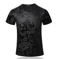 Men Sort Sleeve T Shirts Brand Korean Plus Size 5XL Summer Casual Tees High Quality Cotton