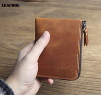 Leacool Vintage Genuine Crazy Horse Leather Wallet Short Slim Mini Zipper Wallet Card Holder Coin Purse