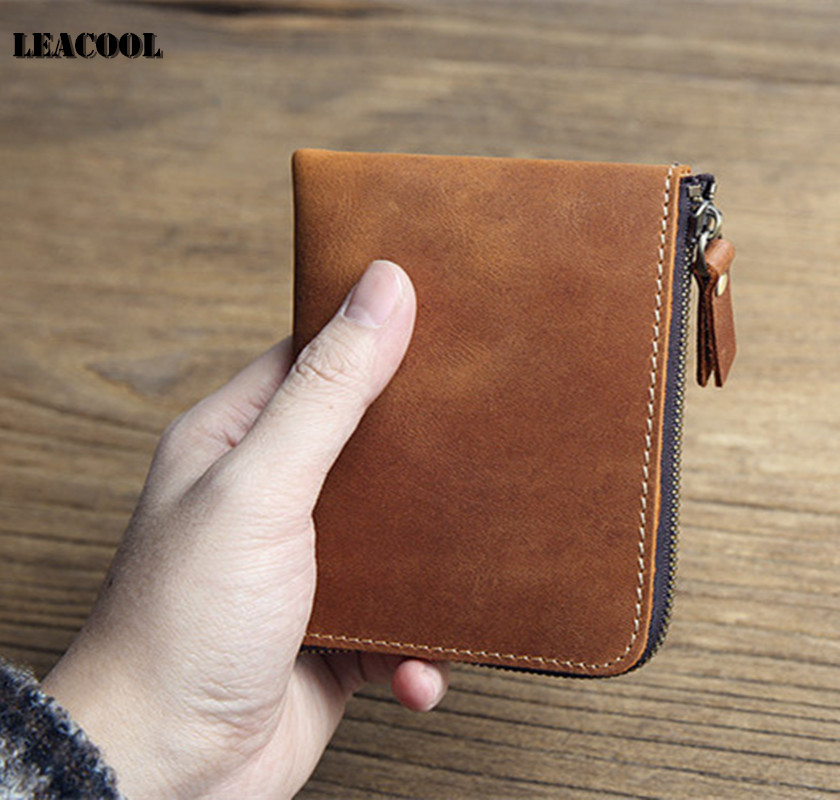 Leacool 100% Crazy Horse Leather Men Purses Coin Purse Man Famous Small Short portomonee Mini Male Purses Card Holder Wallet baellerry top pu leather men wallets and purses coin purse man famous small short portomonee mini male purses card holder walet