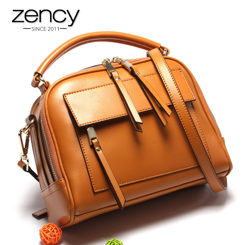 Zency 100 Real Leather Brown Handbag Zipper Pocket Lady Casual Tote Fashion Crossbody Messenger Purse With