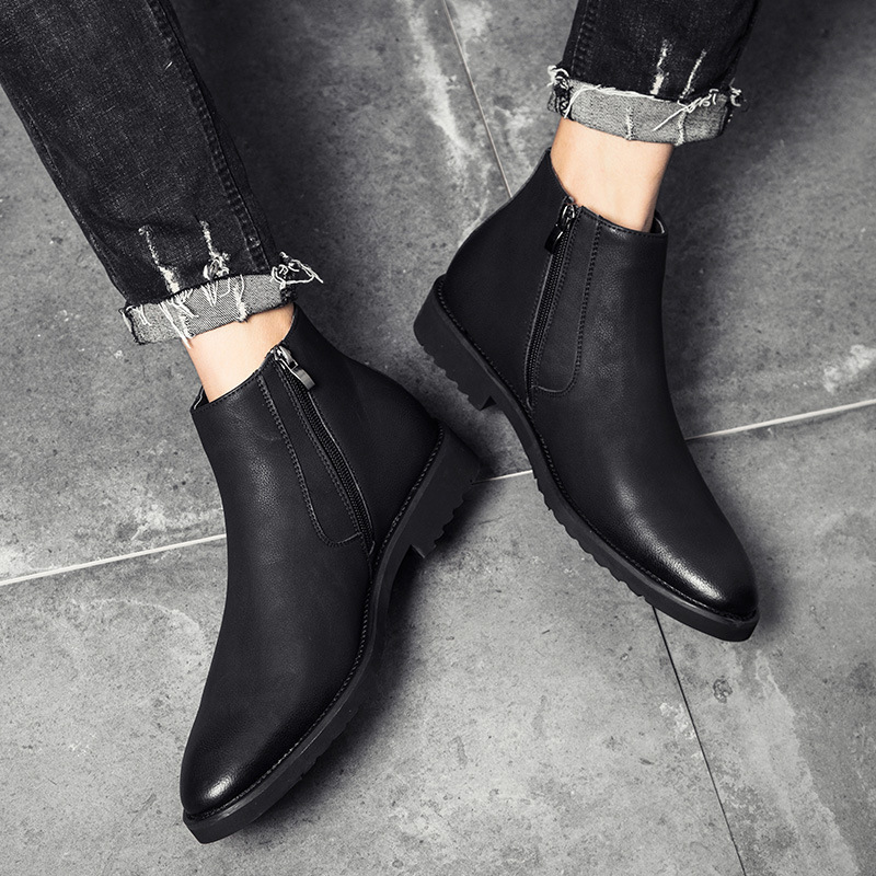 8a218f7b981 Classic Chelsea Boots Men 2018 Winter Fashion All Black Casual Shoes for  Male Vintage Style Ankle Boots Bota Masculina 38-45