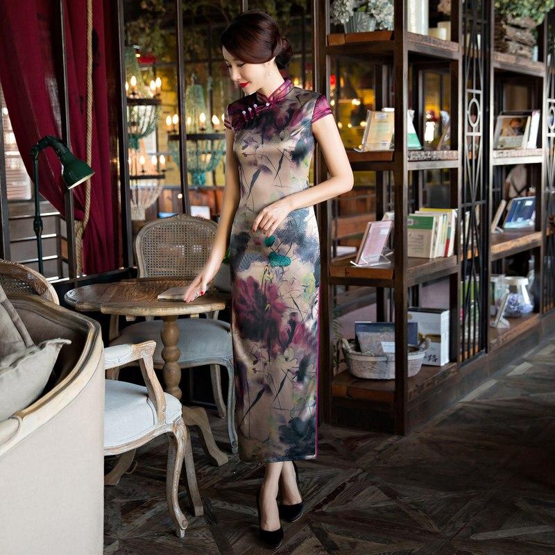 Длинные Стиль Для женщин шелковый атлас Cheongsam Лидер продаж традиционный Китай Qipao Vestido элегантное платье Размеры размеры s m l xl XXL, XXXL 6X5852