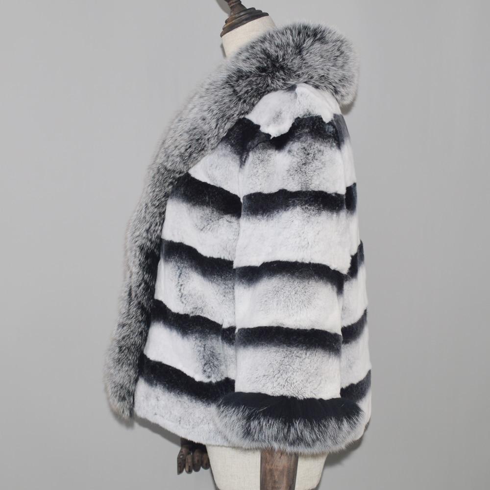 Lapin Manteau Renard Haute Femmes Avec Réel Big 100 Véritable Naturel Grey Veste De Col Fourrure 2018 Real Qualité Rex nWqSXSI
