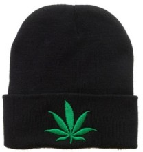 Free Shipping 2015 New Fashion Men Women Winter Hip Hop Punk  Black Weed Leaf Beanie Hats