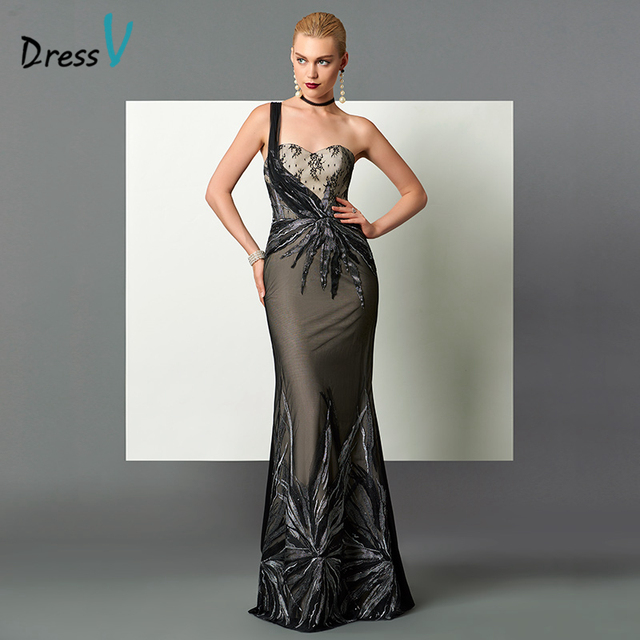 a80805c955f Dressv one shoulder black sheath evening dress sexy backless sequins lace  mermaid long evening dress fashion formal party dress