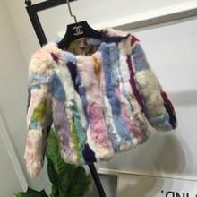 Пальто из натурального кроличьего меха, Женская разноцветная Меховая куртка из кроличьего меха, цветное меховое пальто на заказ размера плюс F1048