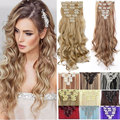 "8pcs/set 24""  Curly 18 Clips  Hair Extensions New Mix colors Synthetic Hairpiece Fake Hair  clip Curly Hair  pad false hair"