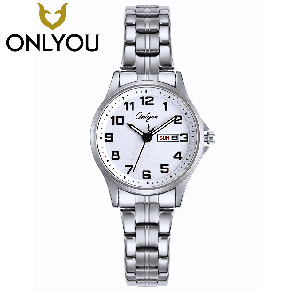 цены ONLYOU Woman Watch Fashion Number Dial Calendar Week Quartz Clock Ladies Stainless Steel Strap Wristwatch Men Business Watches
