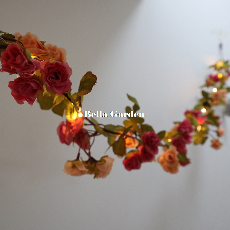1.7M 72 Rose Flower Garland Battery Copper Wire LED Fairy String Lights For Christmas Wedding Party Bedroom Indoor Decoration