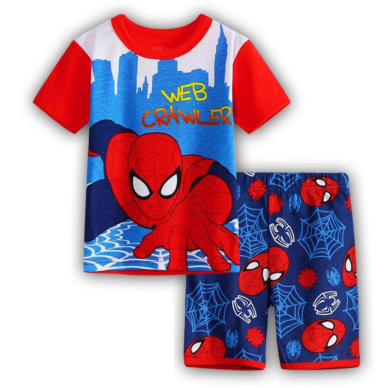 2 Kids Boys Girls Pajamas Cartoon Spider-Man Set Baby Sleepwear Cotton Superhero Costumes Shorts + Short Sleeve Tees Baby Clothing