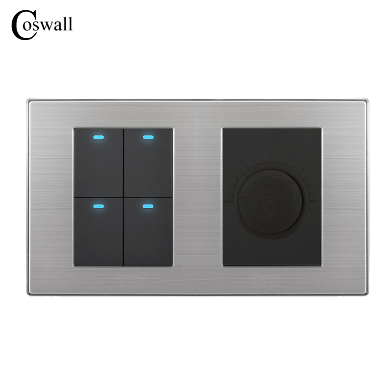 Coswall 4 Gang 2 Way Luxury LED Light Switch Push Button Wall Switch With Dimmer Regulator Stainless Steel Panel 160mm*86mm lediary led lighting switch stainless steel 1 gang 2 gang 3 gang 4 gang and 1 way 2 way push button wall switches 50v 440v