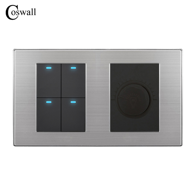 Coswall 4 Gang 2 Way Luxury Led Light Switch Push On Wall With Dimmer Regulator