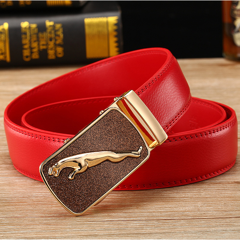High Quality   Belt   Men Luxury Famous Brand Designer Male Genuine Leather Strap White Automatic Buckle Red   Belt   Ceinture Homme