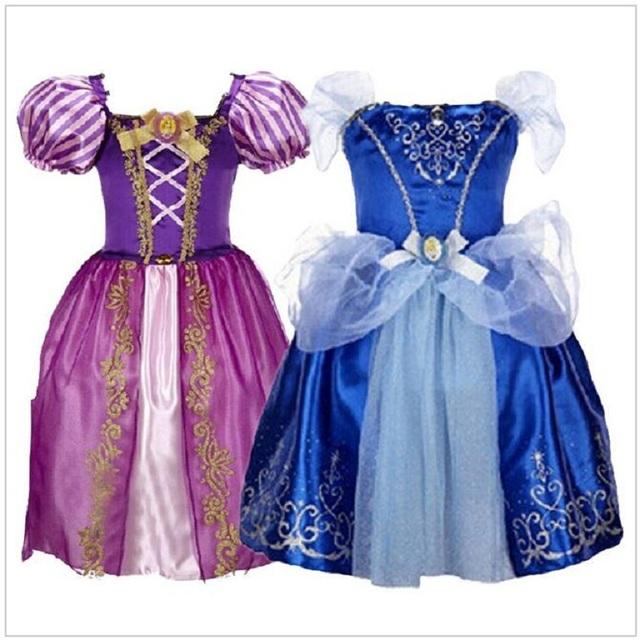 Meninas Vestem Crianças Branca de Neve Vestidos de Princesa Rapunzel Aurora Vestidos Do Partido Dos Miúdos Traje de Halloween Roupas de Natal minnie