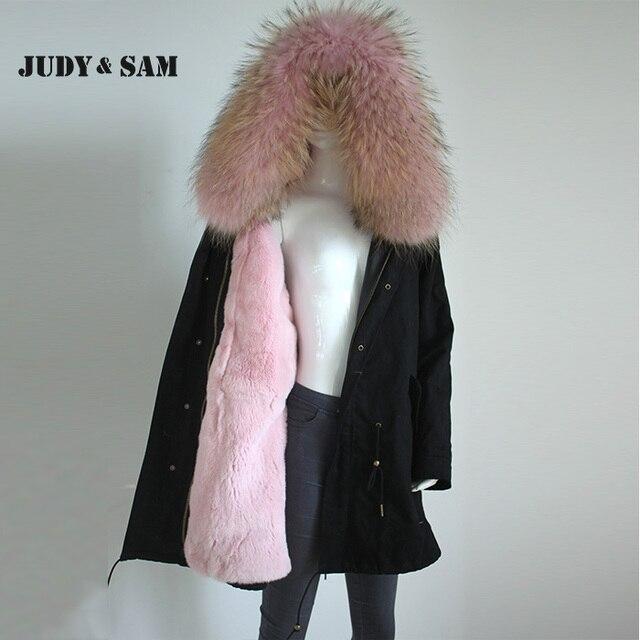 Color Real Rosa Larga Parka Negro Fur Conejo de Rex Forro de De Piel Nv0mnw8