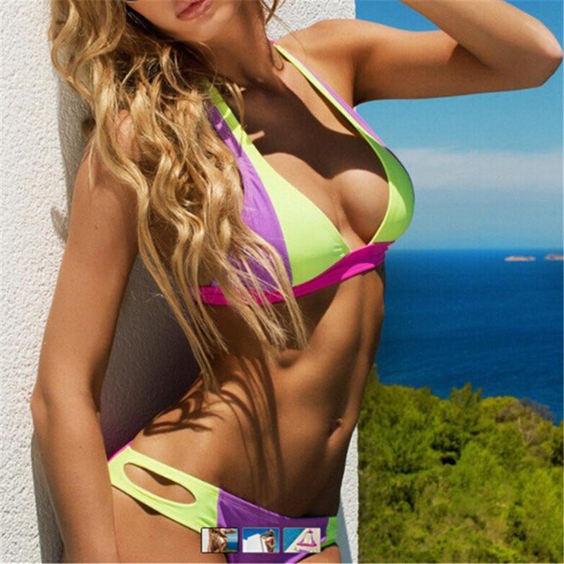 sexy neon culoare patchwork costume de baie bikini seturi femei bandaj tricou bikini biquini culoare luminos costum de baie două piese costume de baie