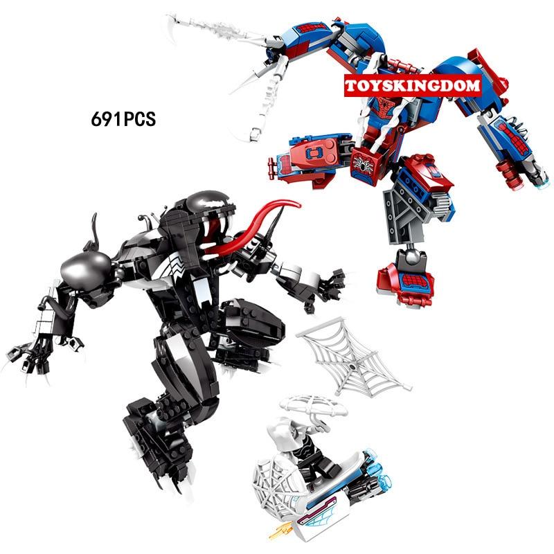 Nouveaux super héros Spider-Man Mech vs Venom Mech bloc de construction marvel Spider Gwen spiderman figurines briques 76115 jouets pour garçons