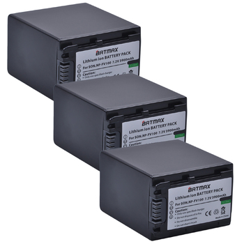 3-Pack NNP-FV100 NP FV100 NPFV100 Rechargeable Camera Batteries for SONY FDR-AX100E AX100E HDR XR550E XR350E CX550E CX350E фото