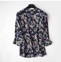 Frauen Sommer 100% Natürliche Seide Bluse Echt Seide Flare Hülse Grundlegende Hemd OL Solid print Top Shirts Silk Blusen für frauen