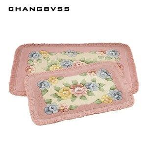 Image 2 - Romantic Flower Printing Carpet Bathroom Rug Mats, 1 PCS PVC Anti slip Bottom Bath Mat Carpet, Mats Rug In The Toilet alfombra