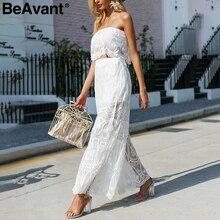 1f2e08026c BeAvant Elegant transparent sexy rompers womens jumpsuit Strapless lace  white jumpsuit 2018 Summer two pieces playsuit overalls