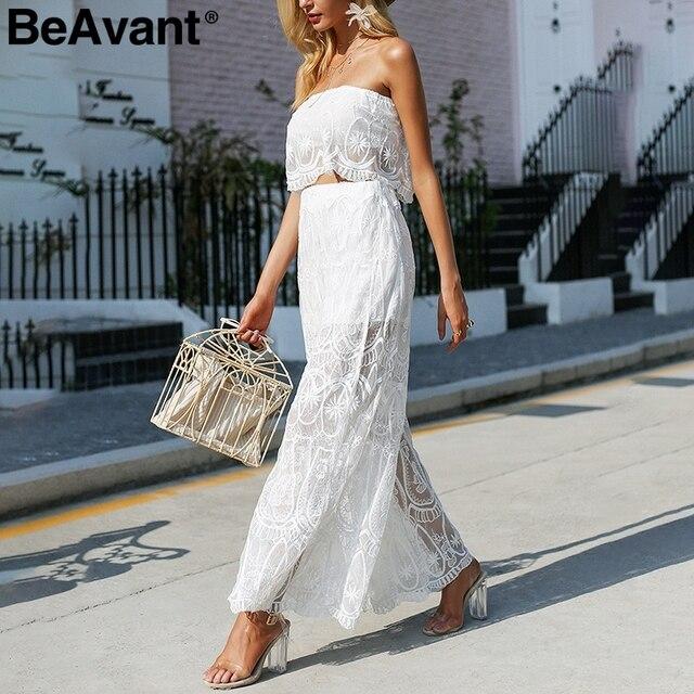 063a40c41a BeAvant Elegant transparent sexy rompers womens jumpsuit Strapless lace  white jumpsuit 2018 Summer two pieces playsuit