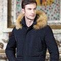 Hombres de la chaqueta de invierno 2016 hombres del ganso abajo chaqueta larga diseño ultra larga tallas grandes espesar chaqueta de invierno cuello de piel grande para hombres