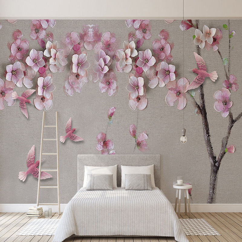 Photo Wallpaper 3D Stereo Relief Peach Blossom Flowers Mural Living Room Bedroom Chinese Style Backdrop Wall Painting Home Decor